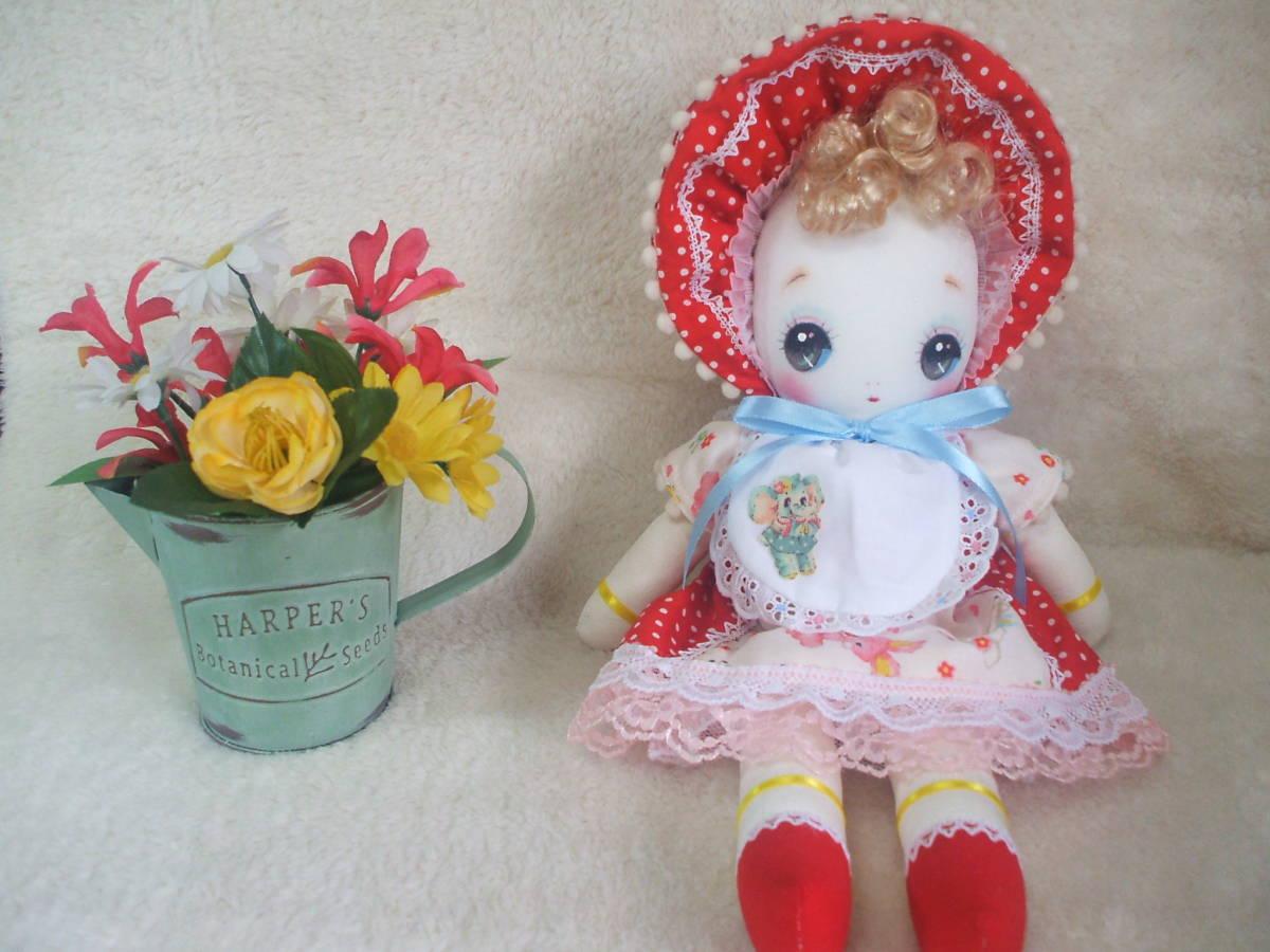 「一年さくら組」文化人形…赤色のボンネットの可愛い子36㎝・昭和レトロ・正絹古布・ハンドメイド・ぬいぐるみ_画像2