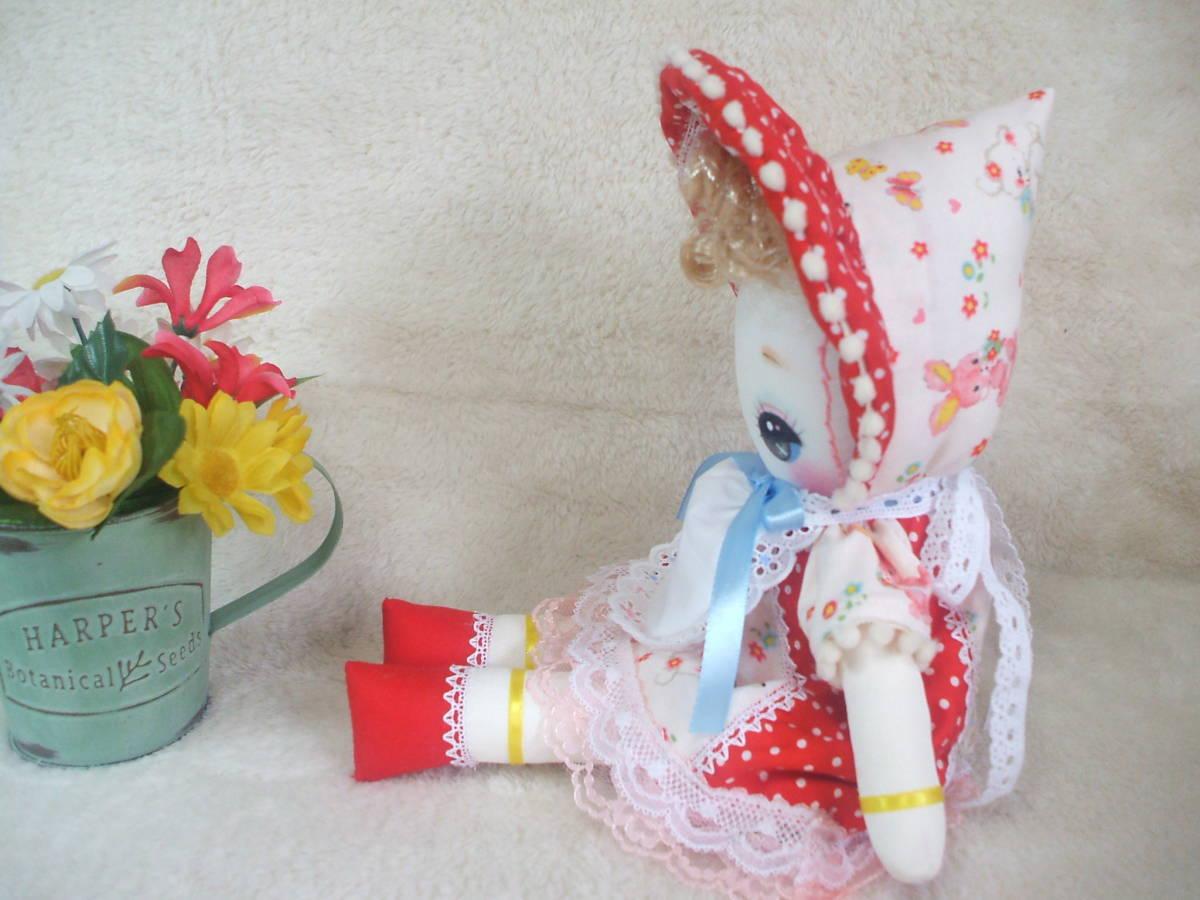 「一年さくら組」文化人形…赤色のボンネットの可愛い子36㎝・昭和レトロ・正絹古布・ハンドメイド・ぬいぐるみ_画像5