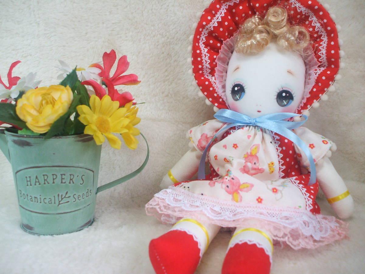 「一年さくら組」文化人形…赤色のボンネットの可愛い子36㎝・昭和レトロ・正絹古布・ハンドメイド・ぬいぐるみ_画像8