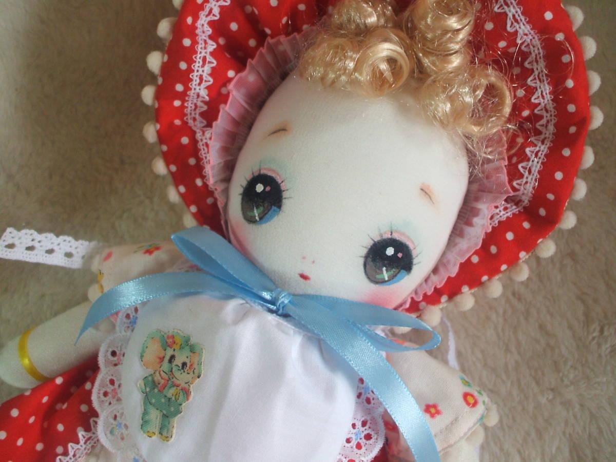 「一年さくら組」文化人形…赤色のボンネットの可愛い子36㎝・昭和レトロ・正絹古布・ハンドメイド・ぬいぐるみ_画像9
