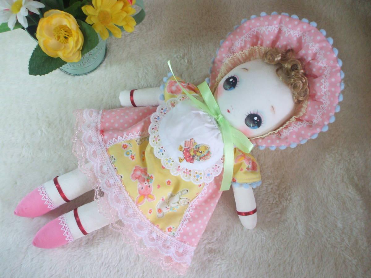 「一年さくら組」文化人形…ピンク色のボンネットの可愛い子36㎝・昭和レトロ・正絹古布・ハンドメイド・ぬいぐるみ