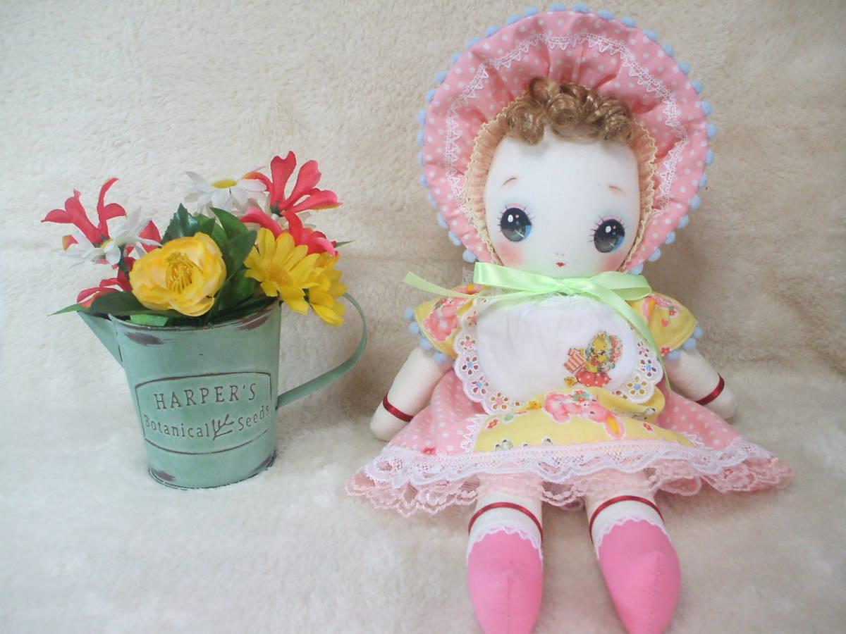 「一年さくら組」文化人形…ピンク色のボンネットの可愛い子36㎝・昭和レトロ・正絹古布・ハンドメイド・ぬいぐるみ_画像2
