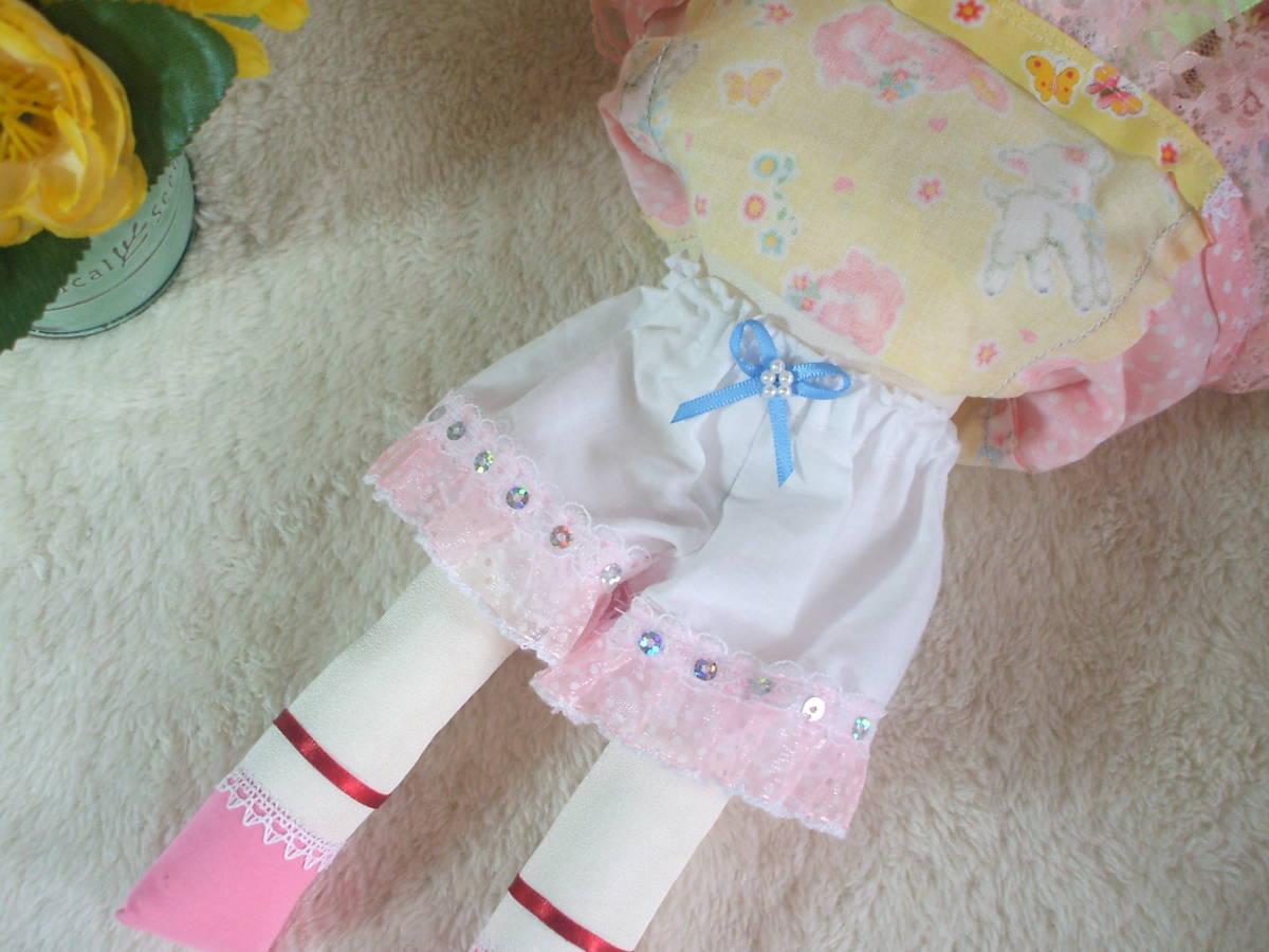 「一年さくら組」文化人形…ピンク色のボンネットの可愛い子36㎝・昭和レトロ・正絹古布・ハンドメイド・ぬいぐるみ_画像6