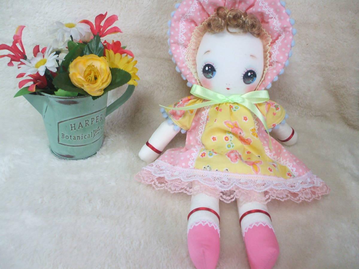「一年さくら組」文化人形…ピンク色のボンネットの可愛い子36㎝・昭和レトロ・正絹古布・ハンドメイド・ぬいぐるみ_画像8
