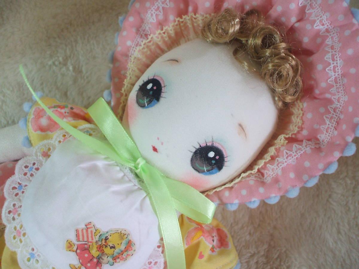 「一年さくら組」文化人形…ピンク色のボンネットの可愛い子36㎝・昭和レトロ・正絹古布・ハンドメイド・ぬいぐるみ_画像9