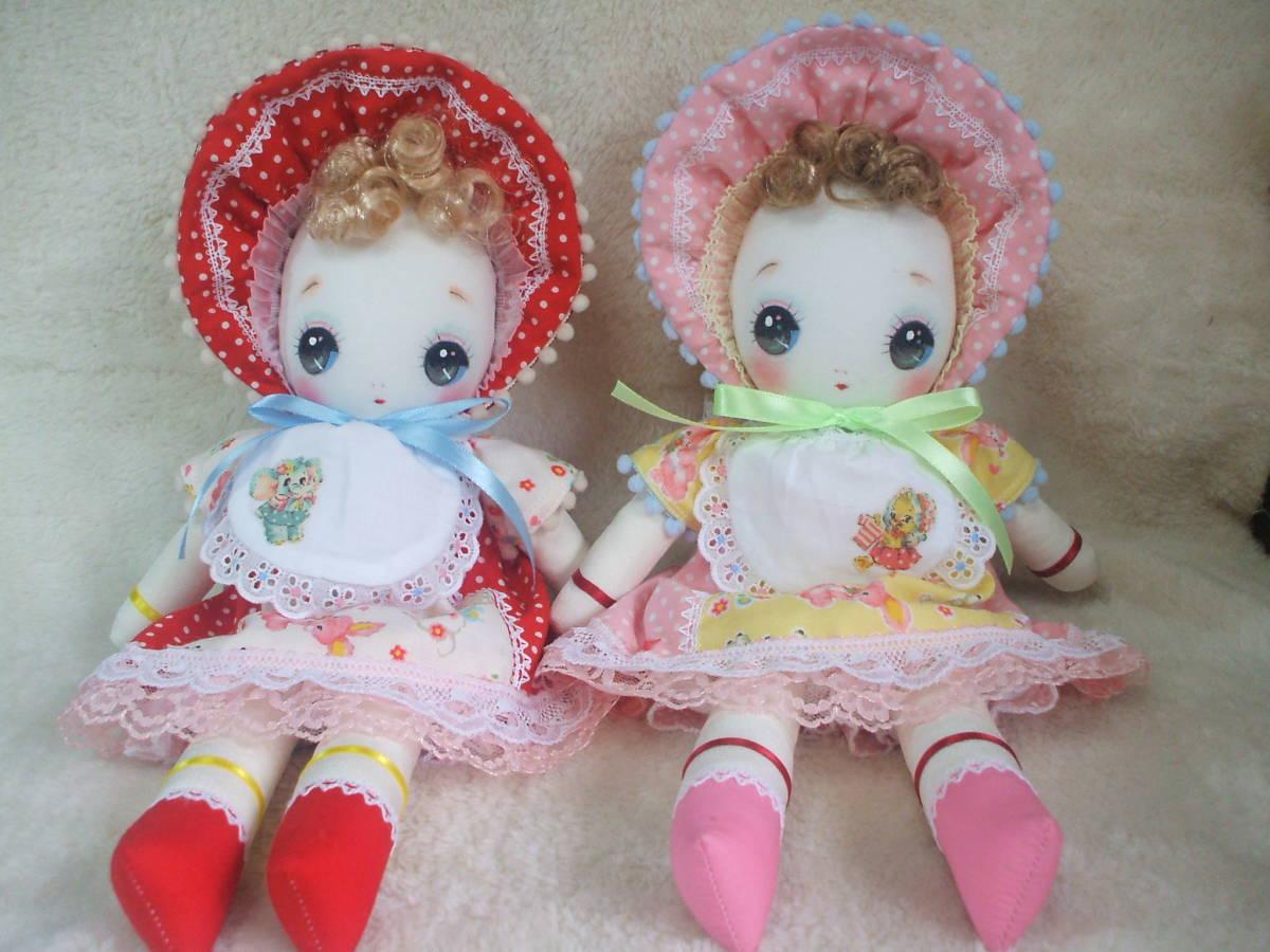 「一年さくら組」文化人形…ピンク色のボンネットの可愛い子36㎝・昭和レトロ・正絹古布・ハンドメイド・ぬいぐるみ_画像10