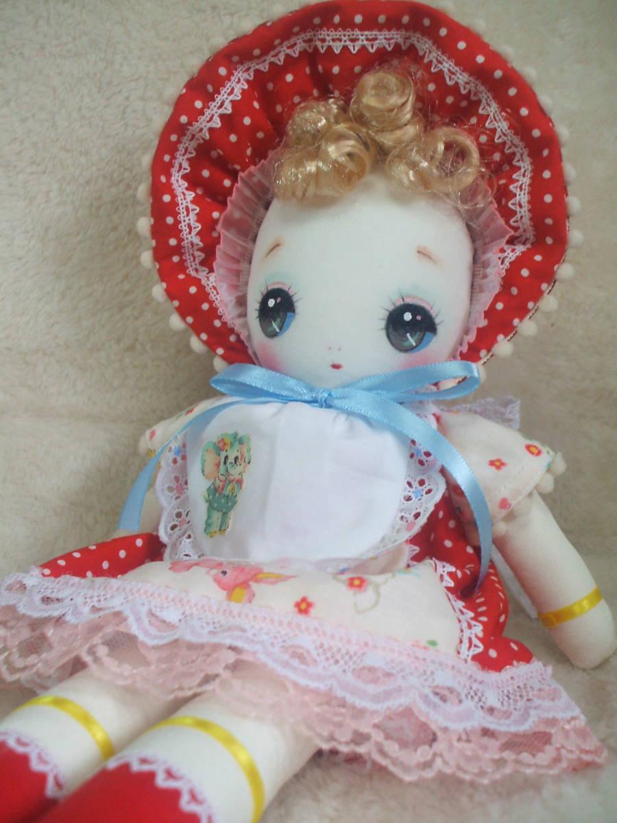 「一年さくら組」文化人形…赤色のボンネットの可愛い子36㎝・昭和レトロ・正絹古布・ハンドメイド・ぬいぐるみ_画像3