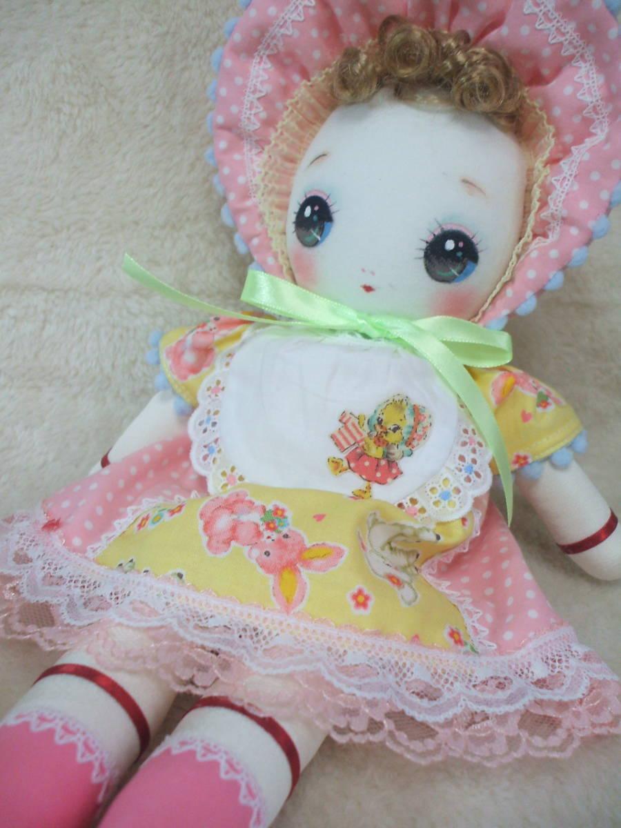 「一年さくら組」文化人形…ピンク色のボンネットの可愛い子36㎝・昭和レトロ・正絹古布・ハンドメイド・ぬいぐるみ_画像3