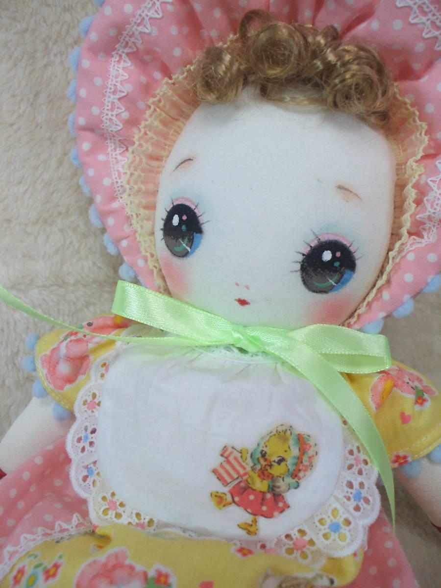 「一年さくら組」文化人形…ピンク色のボンネットの可愛い子36㎝・昭和レトロ・正絹古布・ハンドメイド・ぬいぐるみ_画像4