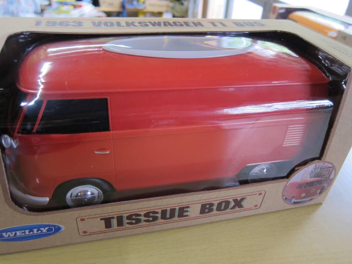 VW T1 BUS TISSUE BOX PLUS ティッシュボックス & 小物入れ RED_画像2