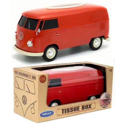 VW T1 BUS TISSUE BOX PLUS ティッシュボックス & 小物入れ RED