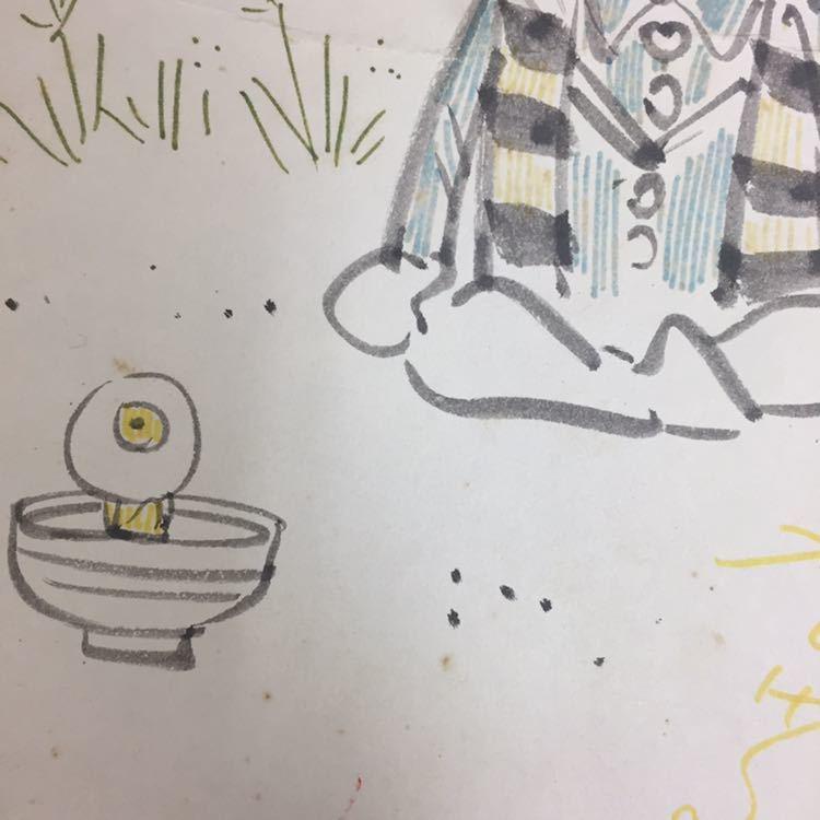 ☆水木しげる ゲゲゲの鬼太郎 直筆サイン色紙 当時物_画像4