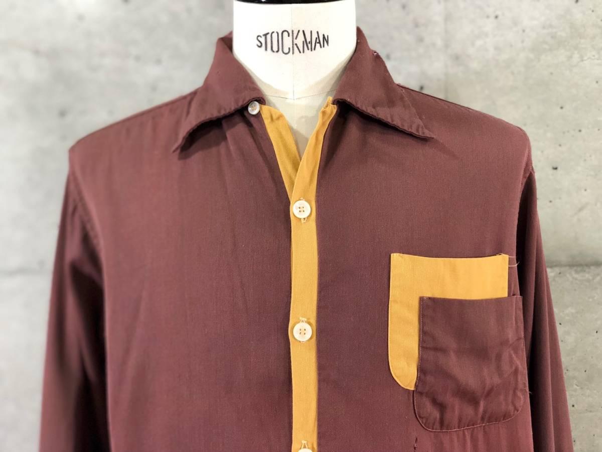 希少《 秀逸なデザイン / 1940-50年代製 》40s 50s【 ビンテージ レーヨンギャバ Wポケット パイピング シャツ M アメリカ製 】_画像1