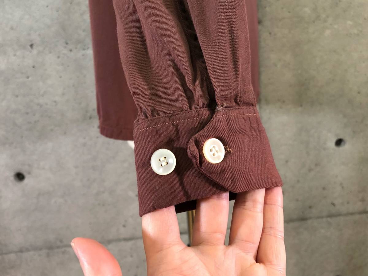 希少《 秀逸なデザイン / 1940-50年代製 》40s 50s【 ビンテージ レーヨンギャバ Wポケット パイピング シャツ M アメリカ製 】_画像7