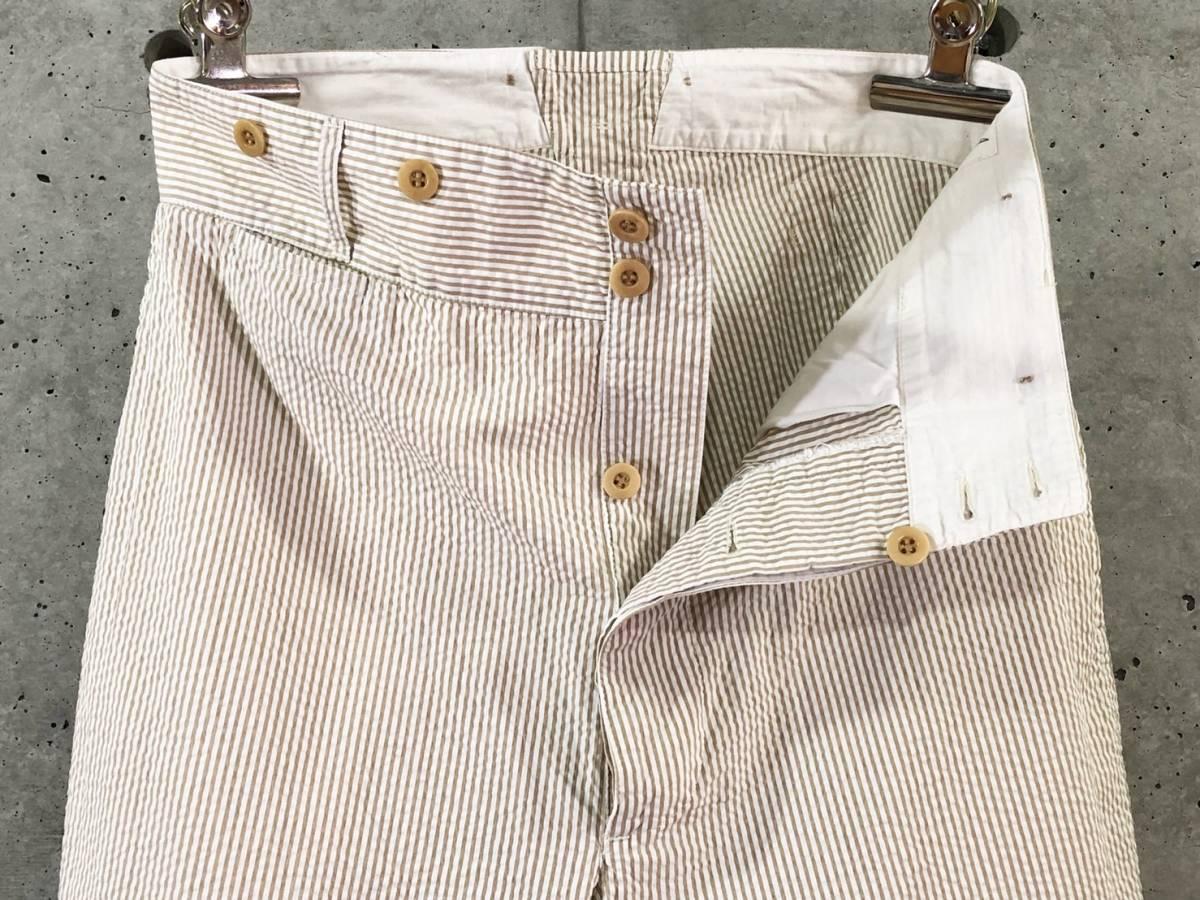 希少《 Bj Pants / Made in France 》美品【 ANATOMICA アナトミカ シアサッカー ストライプ テーパード パンツ 40 フランス製 仏製 】