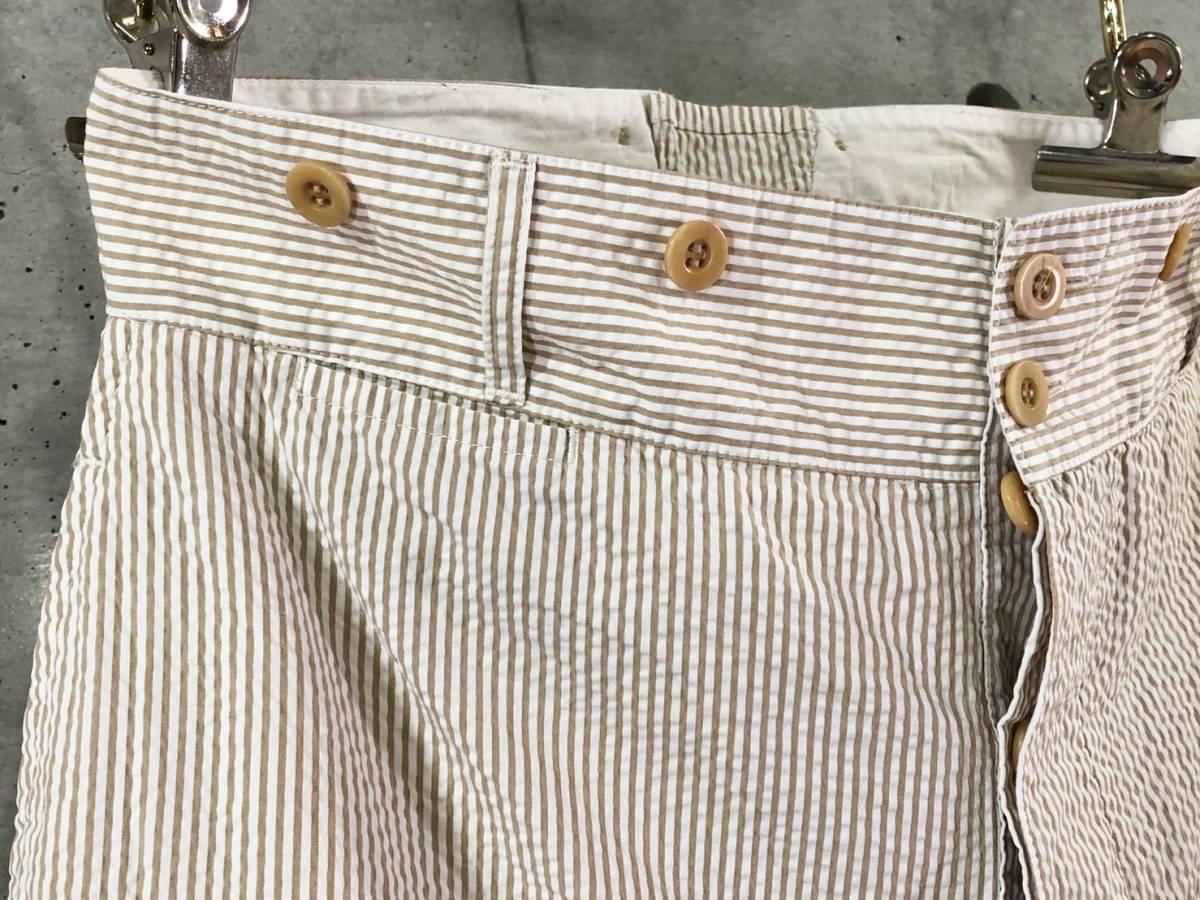 希少《 Bj Pants / Made in France 》美品【 ANATOMICA アナトミカ シアサッカー ストライプ テーパード パンツ 40 フランス製 仏製 】_画像2