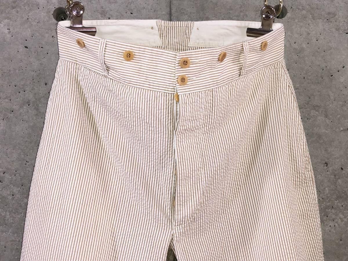 希少《 Bj Pants / Made in France 》美品【 ANATOMICA アナトミカ シアサッカー ストライプ テーパード パンツ 40 フランス製 仏製 】_画像3