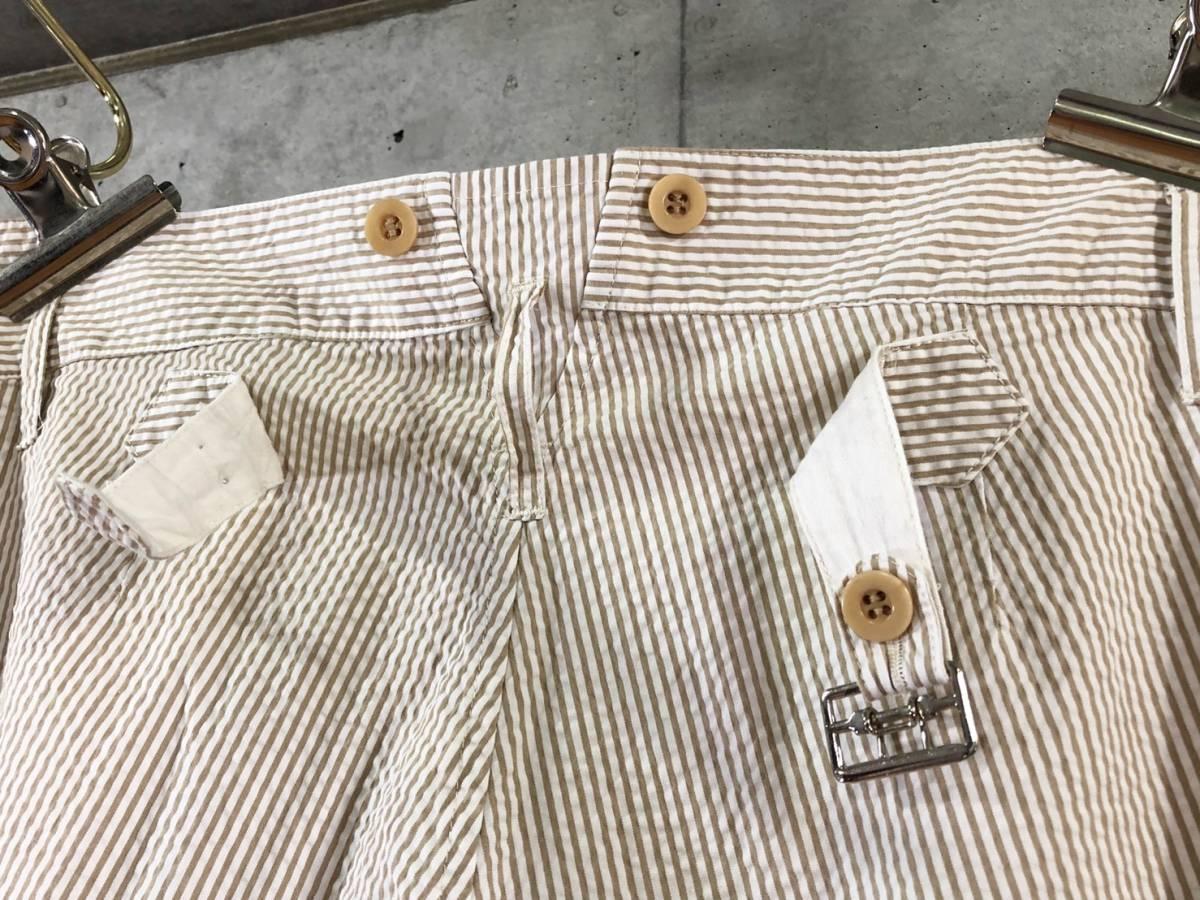 希少《 Bj Pants / Made in France 》美品【 ANATOMICA アナトミカ シアサッカー ストライプ テーパード パンツ 40 フランス製 仏製 】_画像5