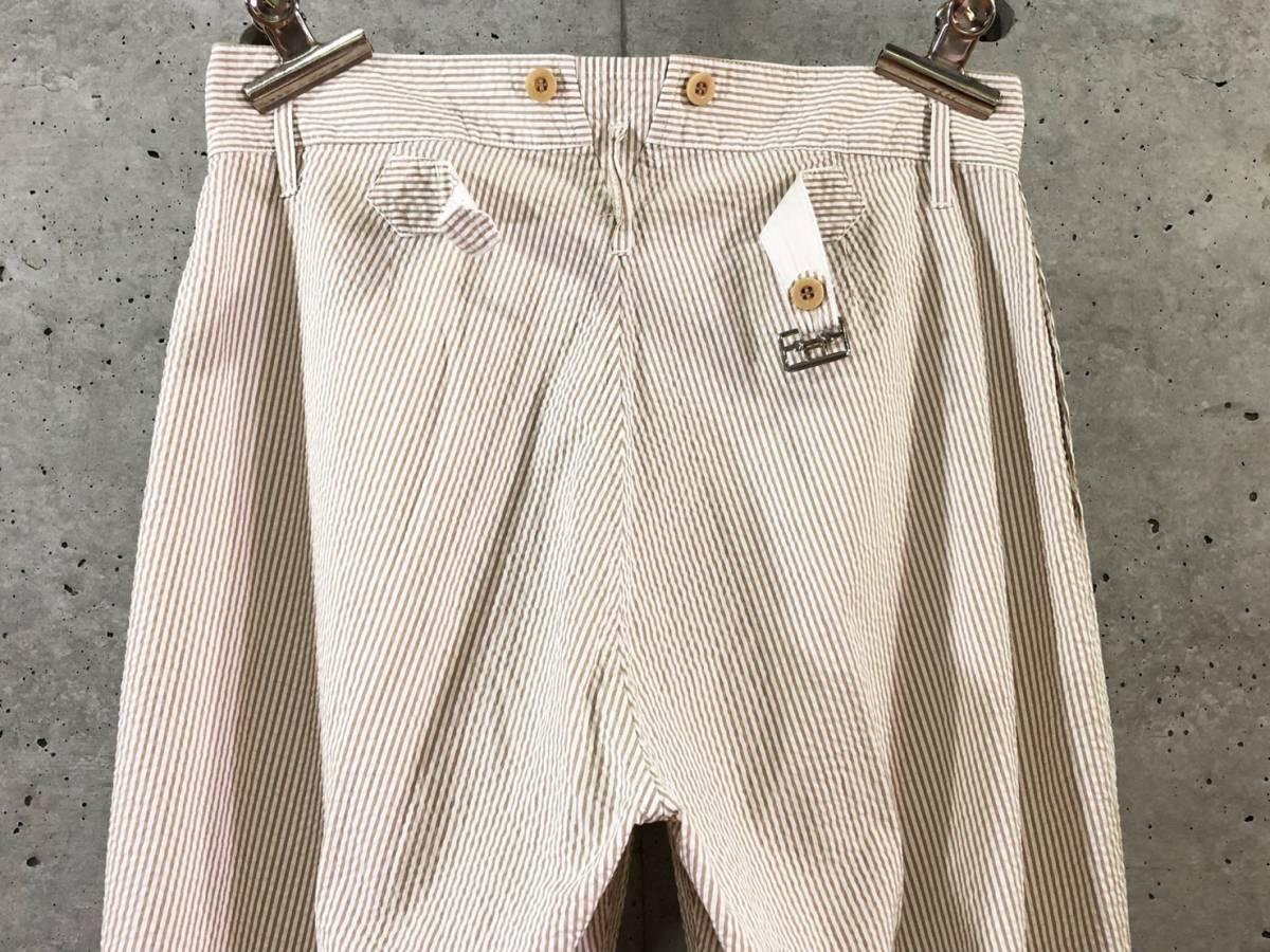希少《 Bj Pants / Made in France 》美品【 ANATOMICA アナトミカ シアサッカー ストライプ テーパード パンツ 40 フランス製 仏製 】_画像6