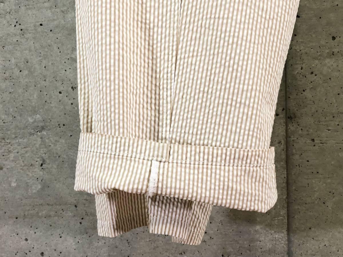 希少《 Bj Pants / Made in France 》美品【 ANATOMICA アナトミカ シアサッカー ストライプ テーパード パンツ 40 フランス製 仏製 】_画像7
