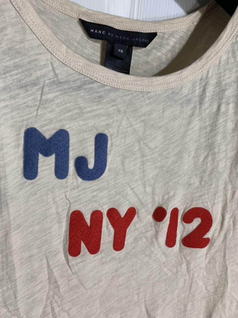 MARC BY MARC JACOBS マーク バイ マークジェイコブス ペルー製 ロゴワッペン デザイン 霜降りベージュ カスタム Tシャツ XS カットソー 肌_画像5
