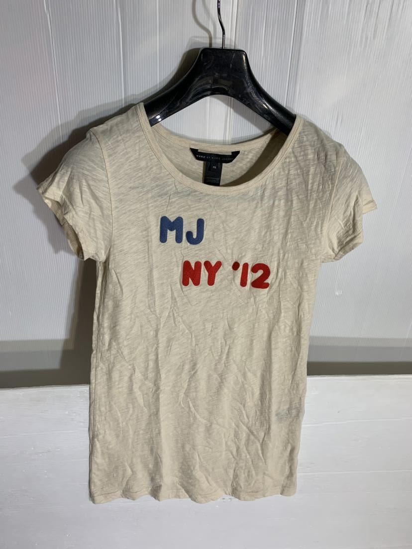 MARC BY MARC JACOBS マーク バイ マークジェイコブス ペルー製 ロゴワッペン デザイン 霜降りベージュ カスタム Tシャツ XS カットソー 肌_画像3