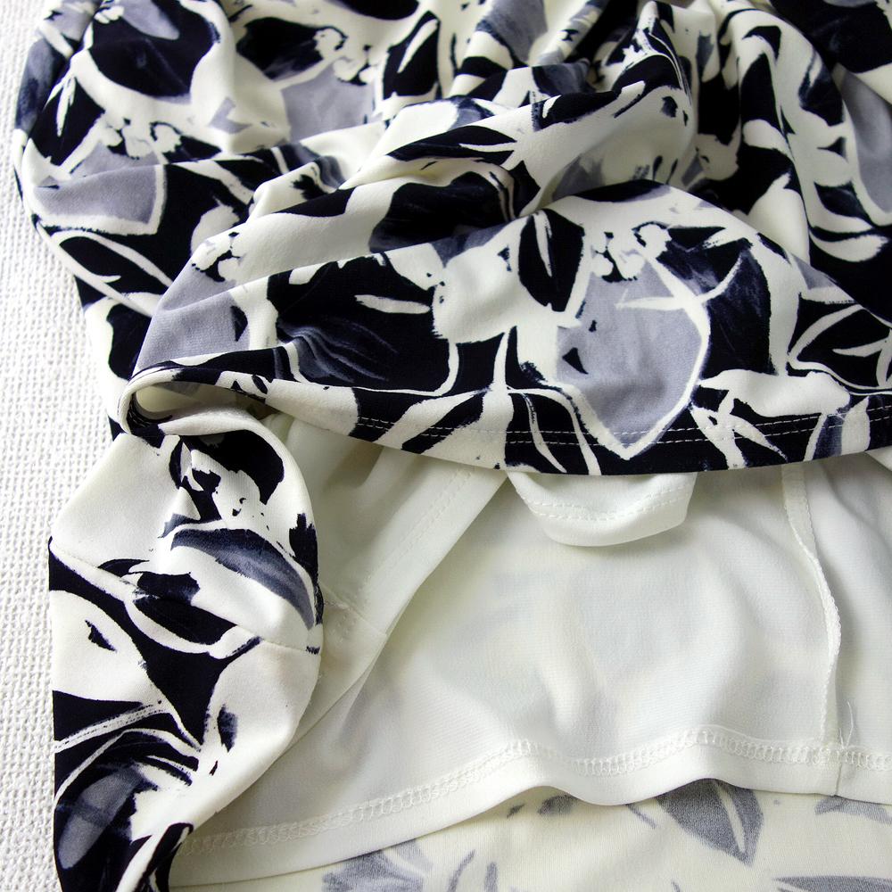 新品 送料185円 ラルフローレン 10/15号 紺 黒 白 花柄 ワンピース フレンチスリーブ モノトーン パーティドレス 結婚式二次会輝25H024_画像5