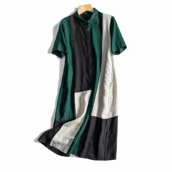 新品登場!☆新品 リネン 優雅 カラーマッチング ゆったり シャツ式 ワンピースひざ丈スカートロングスカートスカート a68