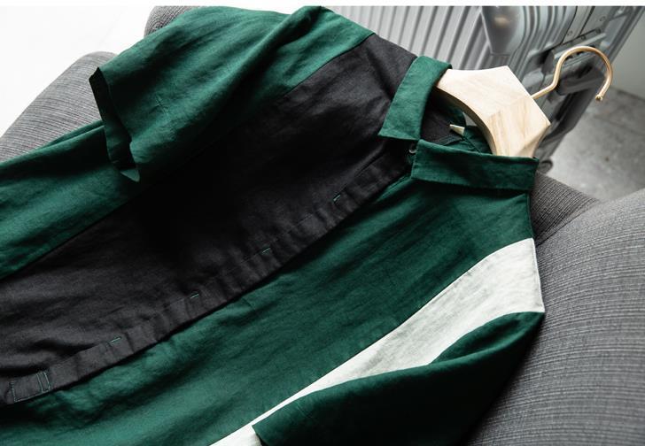 新品登場!☆新品 リネン 優雅 カラーマッチング ゆったり シャツ式 ワンピースひざ丈スカートロングスカートスカート a68_画像2