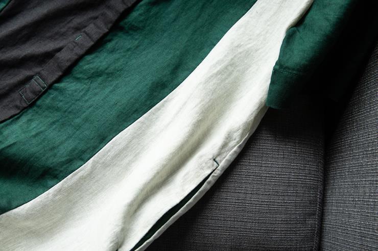 新品登場!☆新品 リネン 優雅 カラーマッチング ゆったり シャツ式 ワンピースひざ丈スカートロングスカートスカート a68_画像3