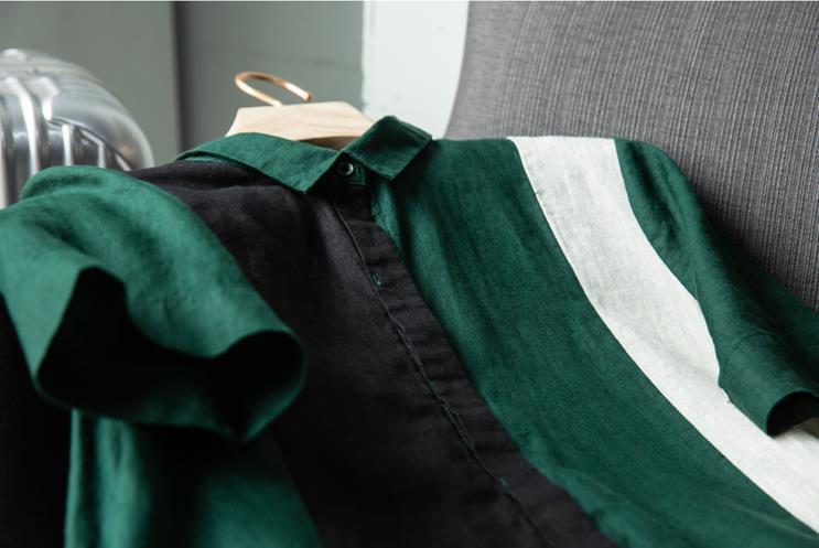 新品登場!☆新品 リネン 優雅 カラーマッチング ゆったり シャツ式 ワンピースひざ丈スカートロングスカートスカート a68_画像5