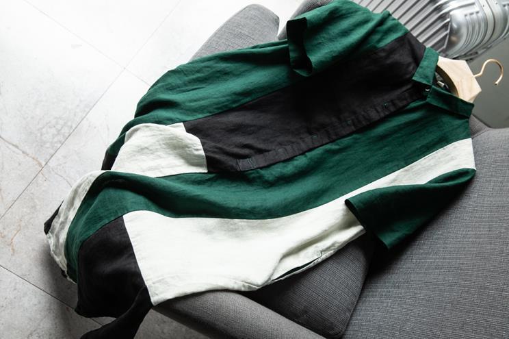 新品登場!☆新品 リネン 優雅 カラーマッチング ゆったり シャツ式 ワンピースひざ丈スカートロングスカートスカート a68_画像6