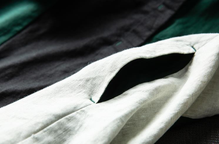 新品登場!☆新品 リネン 優雅 カラーマッチング ゆったり シャツ式 ワンピースひざ丈スカートロングスカートスカート a68_画像7