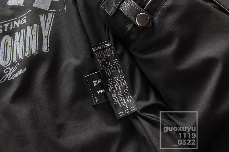注目★高品質本革★メンズ秋バイクオートバイレザージャケット立ち襟スリムレザーシープスキンハーレー機関車レザージャケットサイズ選択可_画像9