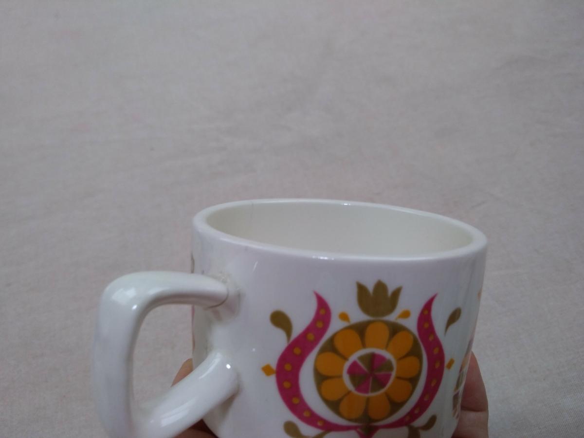 処分昭和レトロ雑貨 鳥と花のカップ アンティークヴィンテージ雑貨インテリア北欧 ジャンク品_画像3