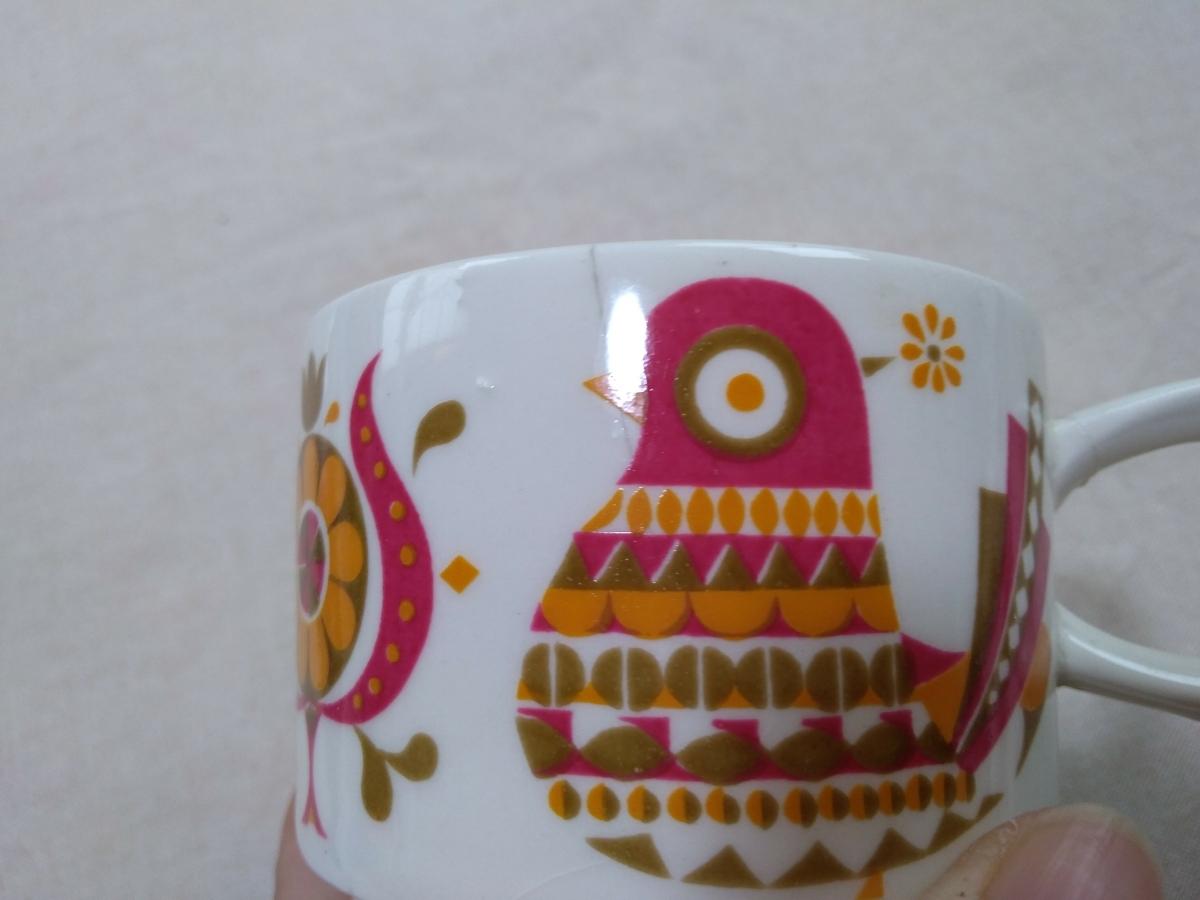 処分昭和レトロ雑貨 鳥と花のカップ アンティークヴィンテージ雑貨インテリア北欧 ジャンク品_画像4