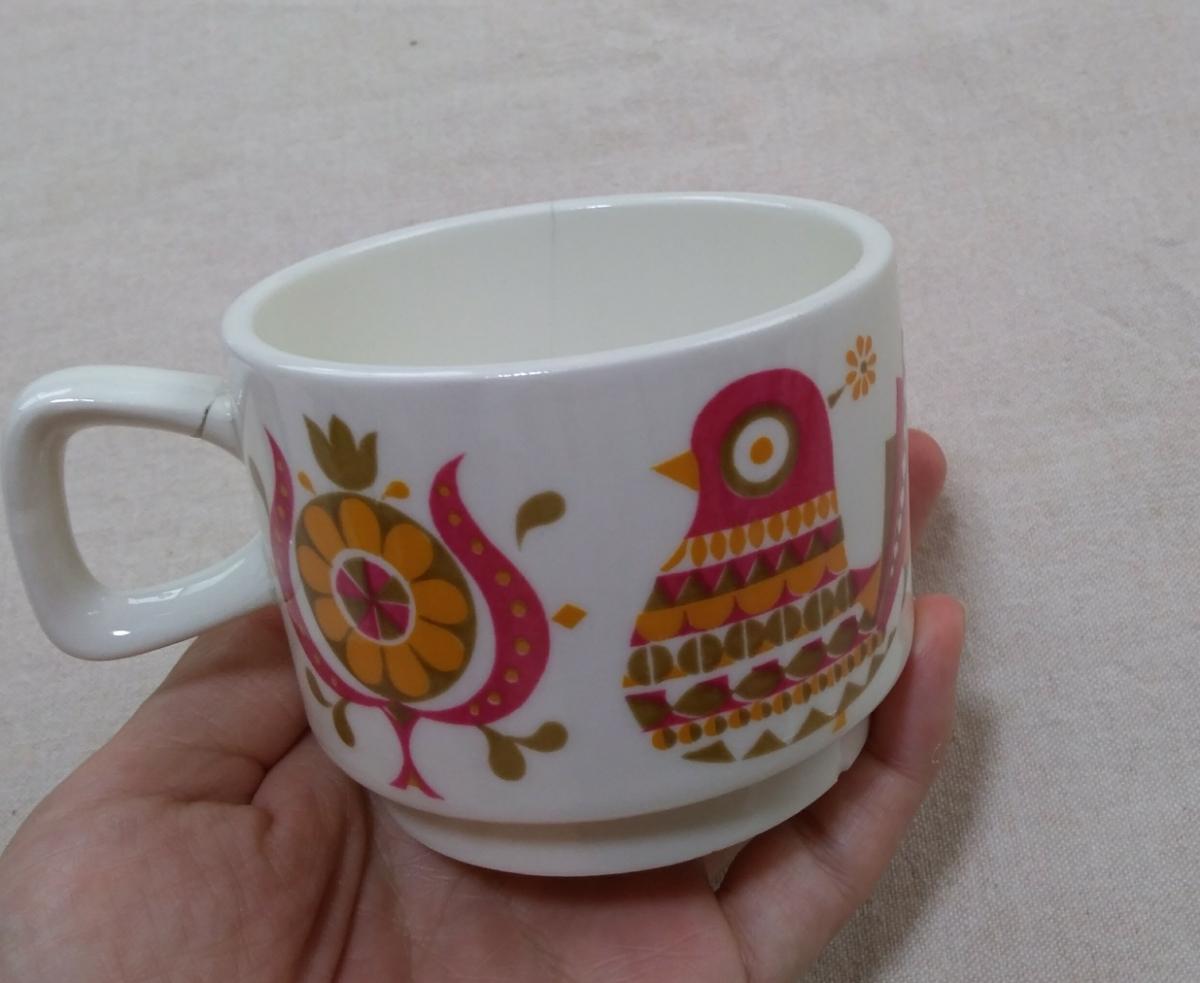 処分昭和レトロ雑貨 鳥と花のカップ アンティークヴィンテージ雑貨インテリア北欧 ジャンク品_画像2