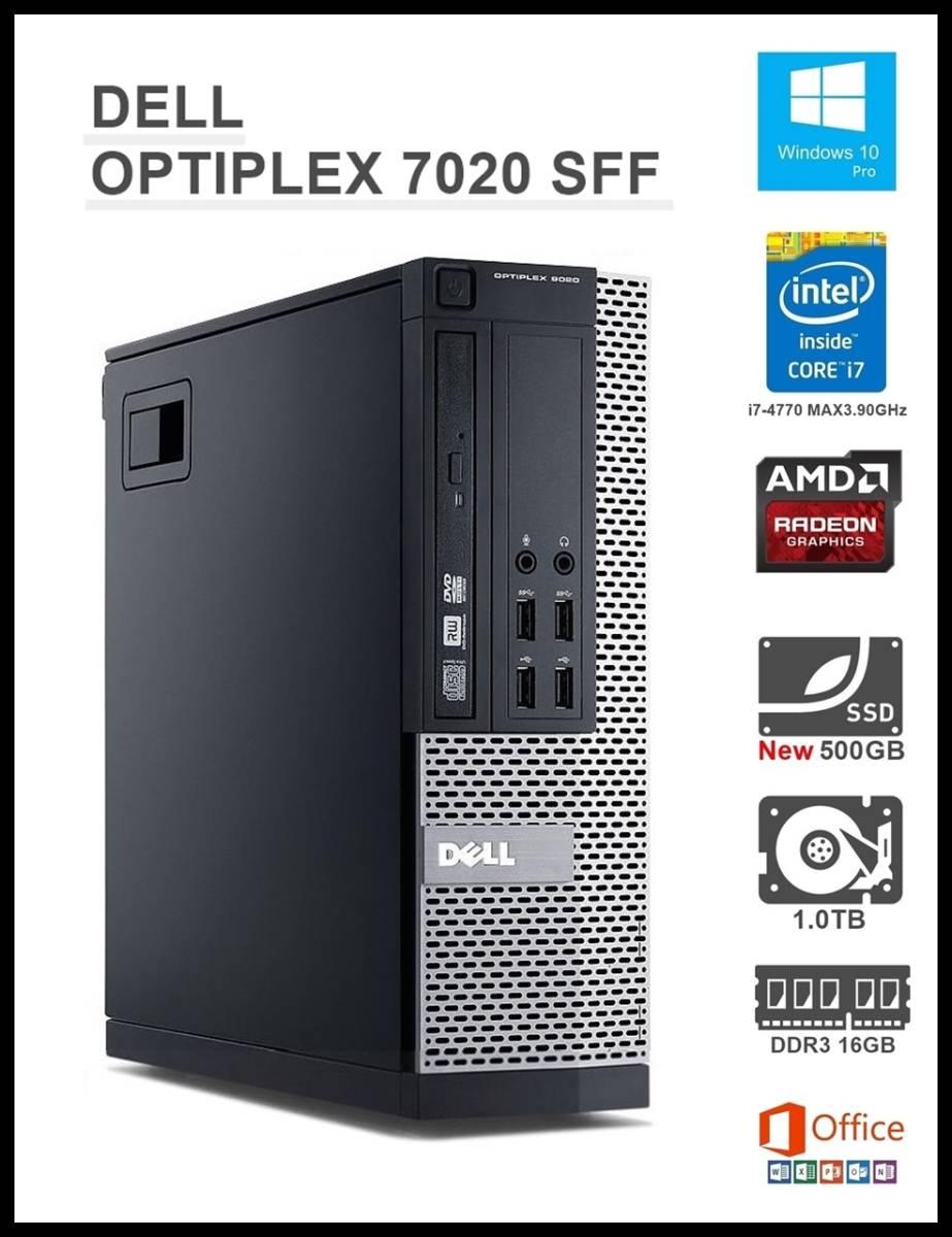 ★超高速 OPTIPLEX7020 SFF/Core i7-4770/メモリ 16GB/新品SSD 500GB+HDD 1.0TB/AMD Rade