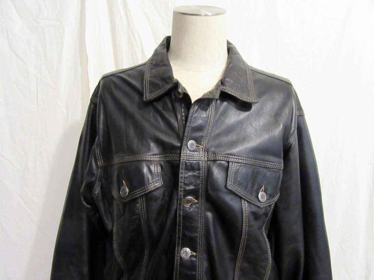 英国製 ビンテージ AMI LONDON レザートラッカージャケット 表記M 黒 ブラック 革 ジージャン LEVIS 70505 3rd型 La ROCKA johnsons好きに
