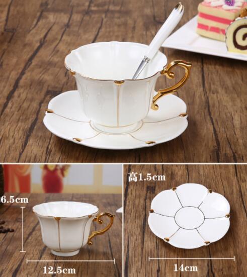 26B450 コーヒーカップ&ソーサー 家庭用 陶器製ミルクティーカップヨーロッパ式 15点セット ティー兼用 コーヒーポット ミルク壺 砂糖つぼ_画像5