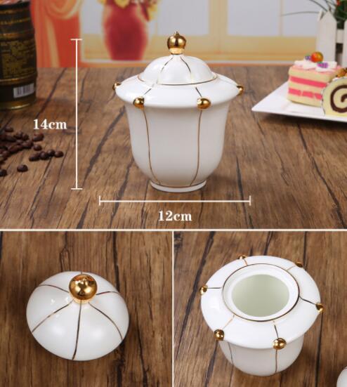 26B450 コーヒーカップ&ソーサー 家庭用 陶器製ミルクティーカップヨーロッパ式 15点セット ティー兼用 コーヒーポット ミルク壺 砂糖つぼ_画像3