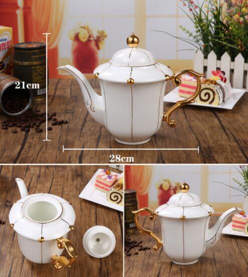 26B450 コーヒーカップ&ソーサー 家庭用 陶器製ミルクティーカップヨーロッパ式 15点セット ティー兼用 コーヒーポット ミルク壺 砂糖つぼ_画像2