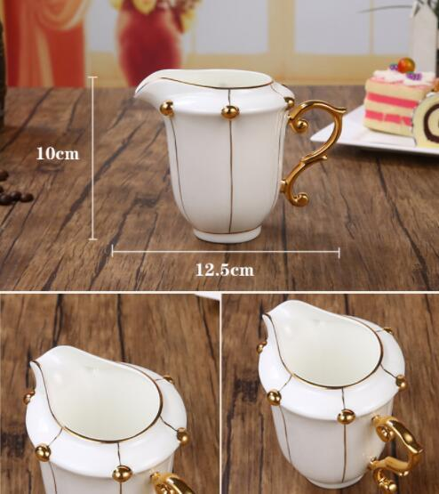 26B450 コーヒーカップ&ソーサー 家庭用 陶器製ミルクティーカップヨーロッパ式 15点セット ティー兼用 コーヒーポット ミルク壺 砂糖つぼ_画像4