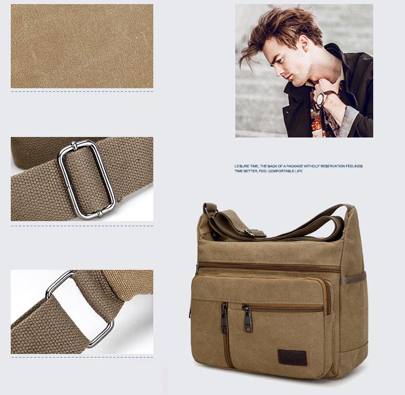 メンズ ショルダーバッグ 帆布 斜め掛け カジュアル 美品 実用 多機能 カーキ_画像7