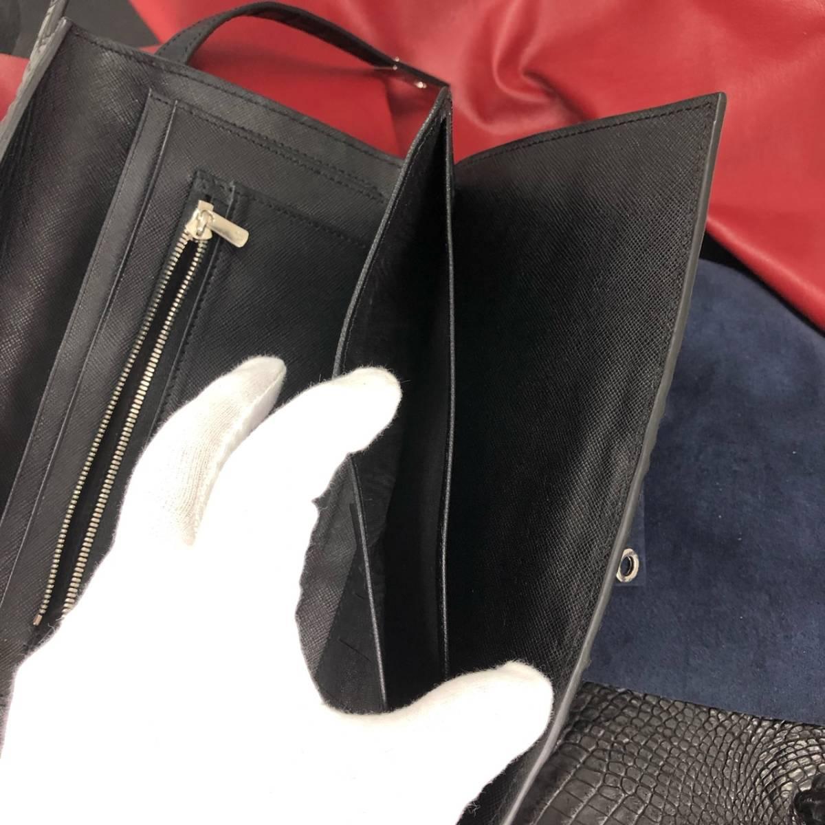 ※動画あり メンズ専用 ハンドメイド 一点物【本物クロコダイル】ワイドサイズ 幅26cm  財布 未使用に近い ブラック 他画像あり_画像9