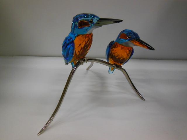 18J★SWAROVSKI スワロフスキー クリスタル 置物 野鳥 鳥 カワセミ フィギュリン