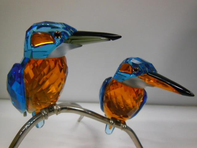 18J★SWAROVSKI スワロフスキー クリスタル 置物 野鳥 鳥 カワセミ フィギュリン_画像2