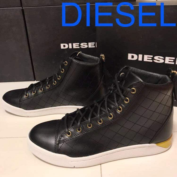 DIESEL ディーゼル 新品 スニーカー EU41 26~26.5㎝ ブラック ハイカットレザースニーカー