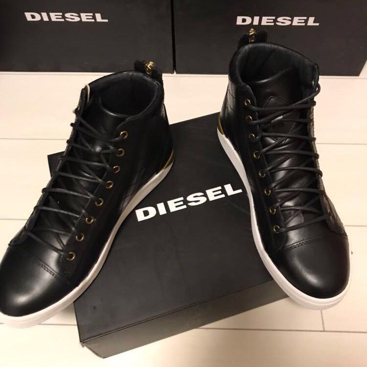 DIESEL ディーゼル 新品 スニーカー EU41 26~26.5㎝ ブラック ハイカットレザースニーカー _画像3