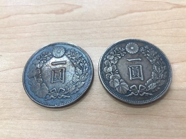 一圓銀貨 明治36年 約26.9g/明治38年 約27g 2枚セット_画像1